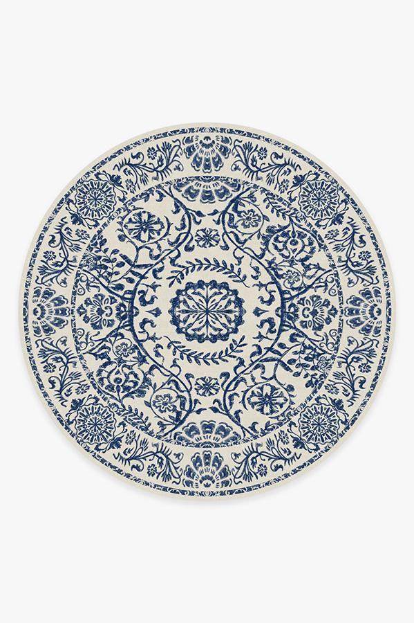 Washable Rug Cover   Delphina Delft Blue Rug   Stain-Resistant   Ruggable   8' Round