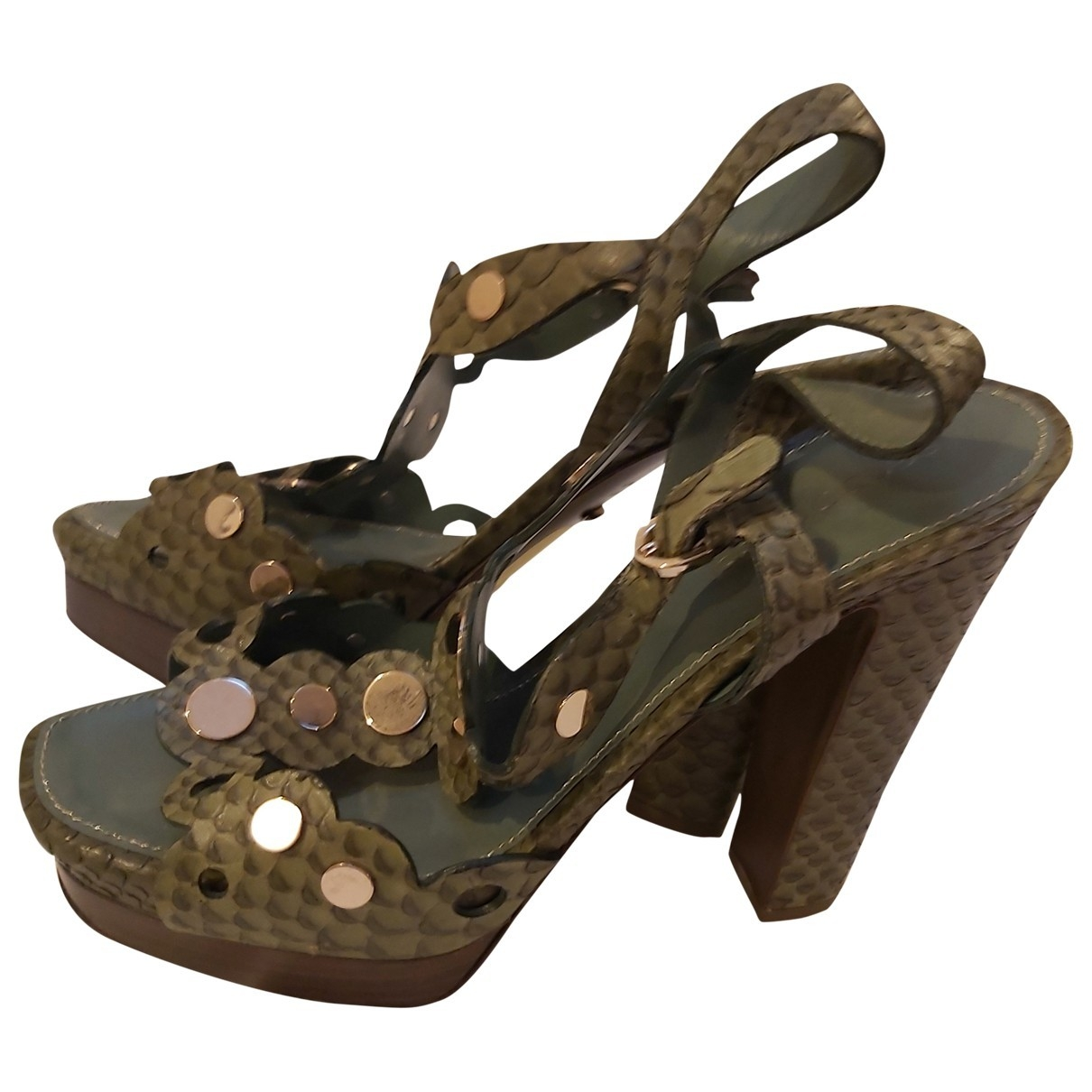 Sergio Rossi \N Green Exotic leathers Sandals for Women 37 EU