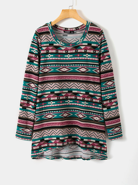YOINS Navy Tribal Print Round Neck Knit Long Sleeves Tee