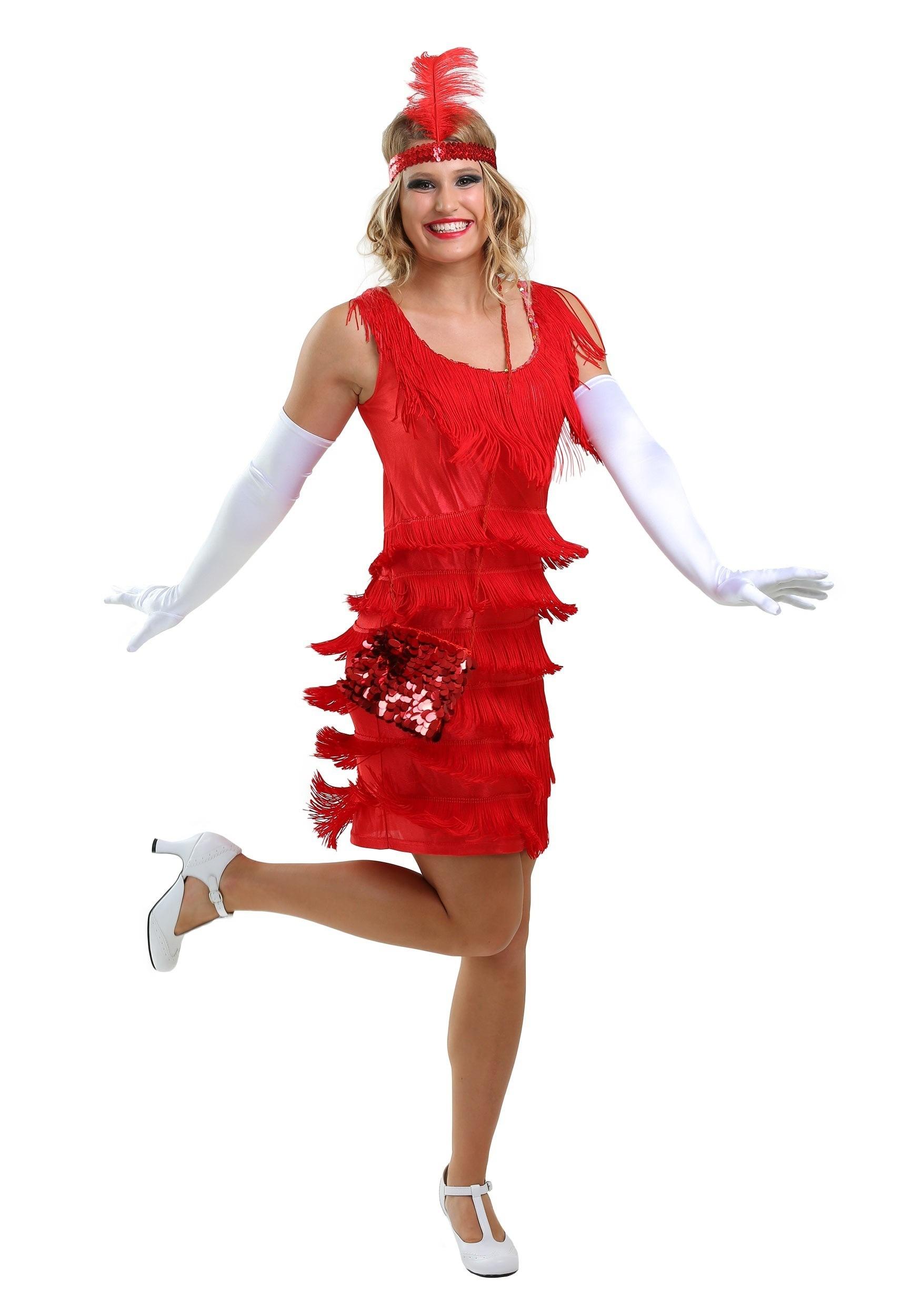 Women's Red Flapper Fringe Dress Costume