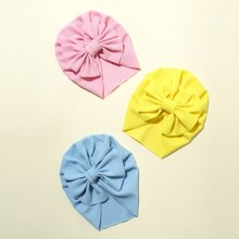 3pcs Toddler Kids Bow Decor Turban Hat