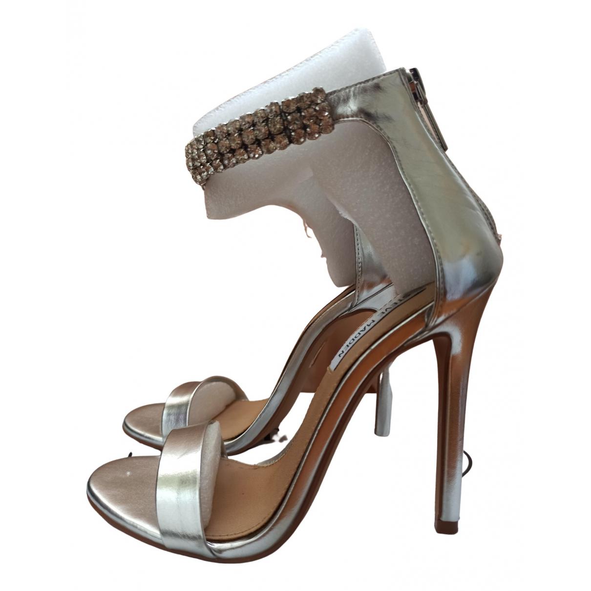 Steve Madden N Silver Leather Heels for Women 7 US
