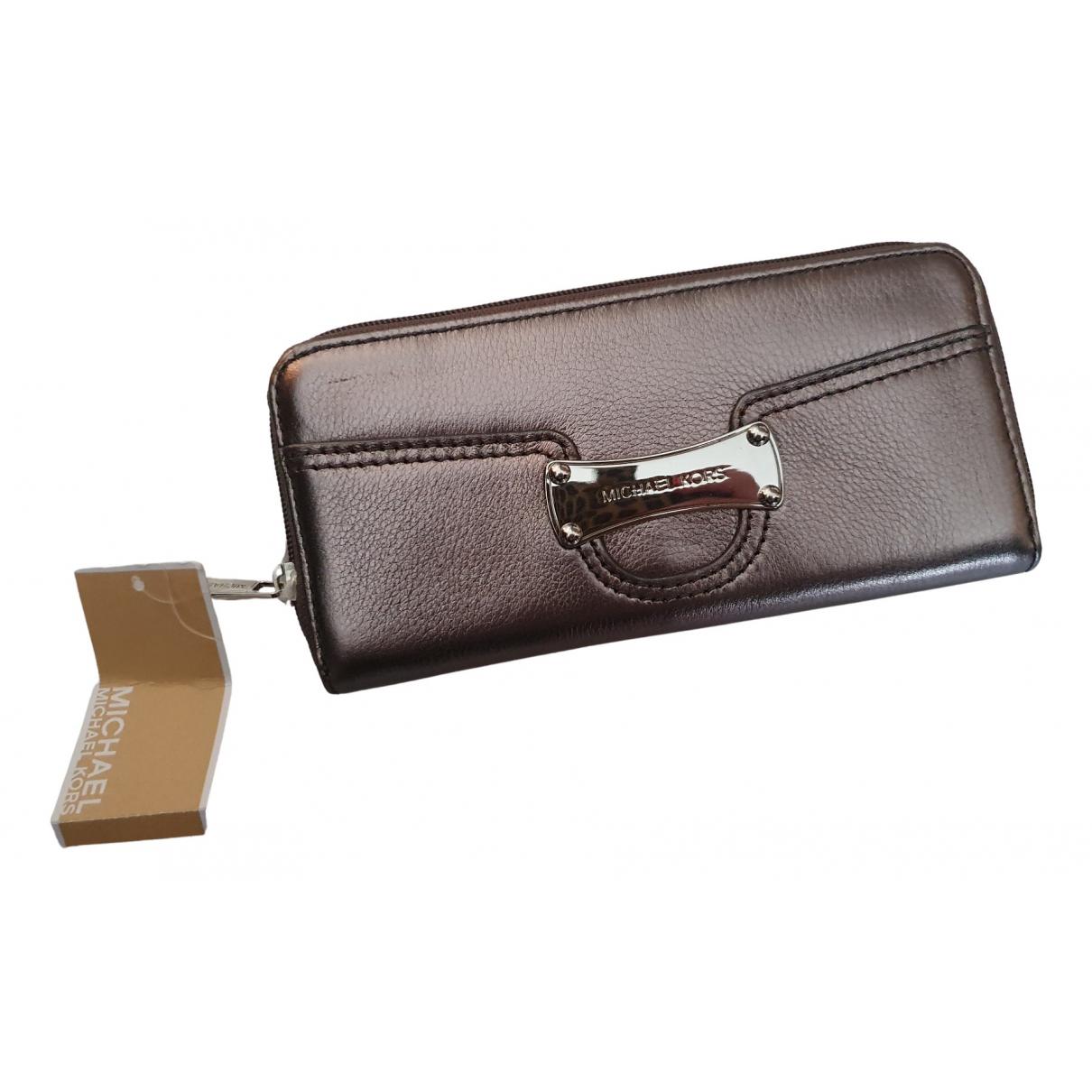 Michael Kors - Portefeuille   pour femme en cuir - metallise