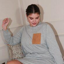 Plus Heather Grey Elbow Patch Dress