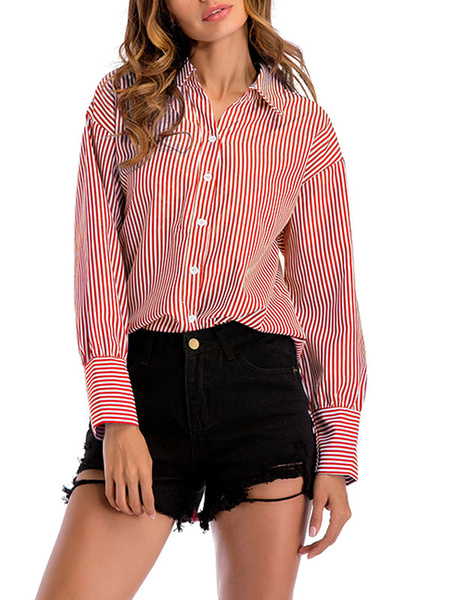 Milanoo Shirt For Women Light Sky Blue Turndown Collar Casual Stripes Buttons Long Sleeves Tops