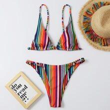 Dreieckiger Bikini Badeanzug mit bunten Streifen und Tanga