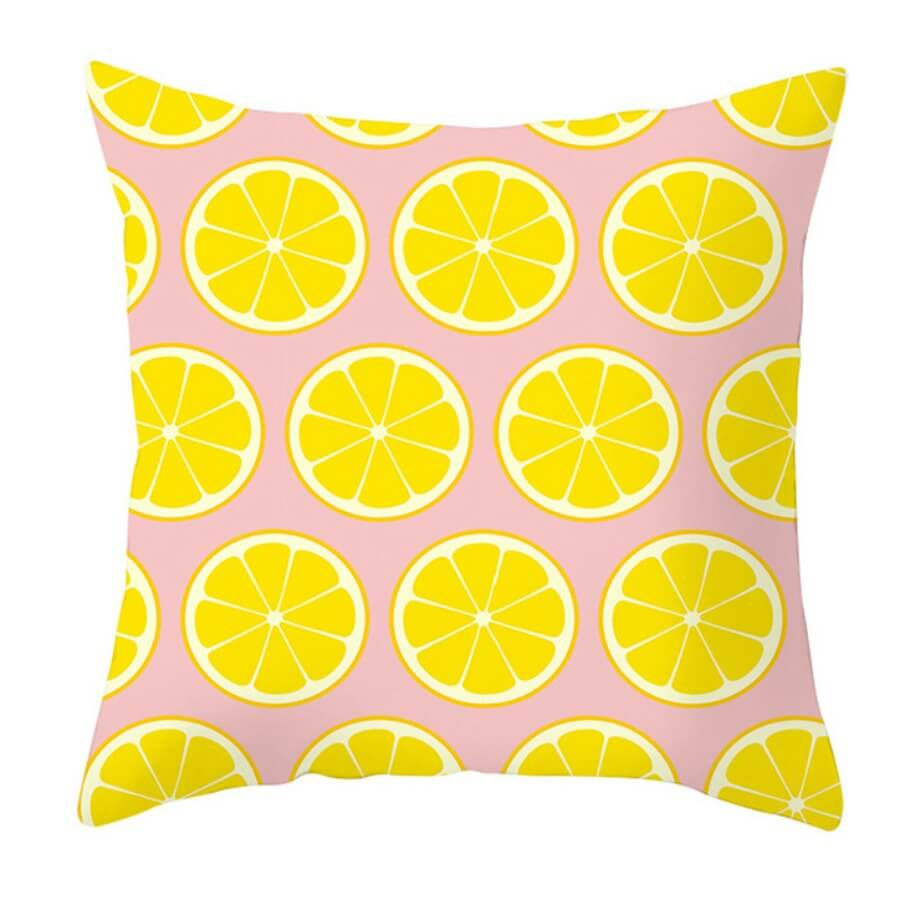 LW Lovely Chic Print Yellow Decorative Pillow Case