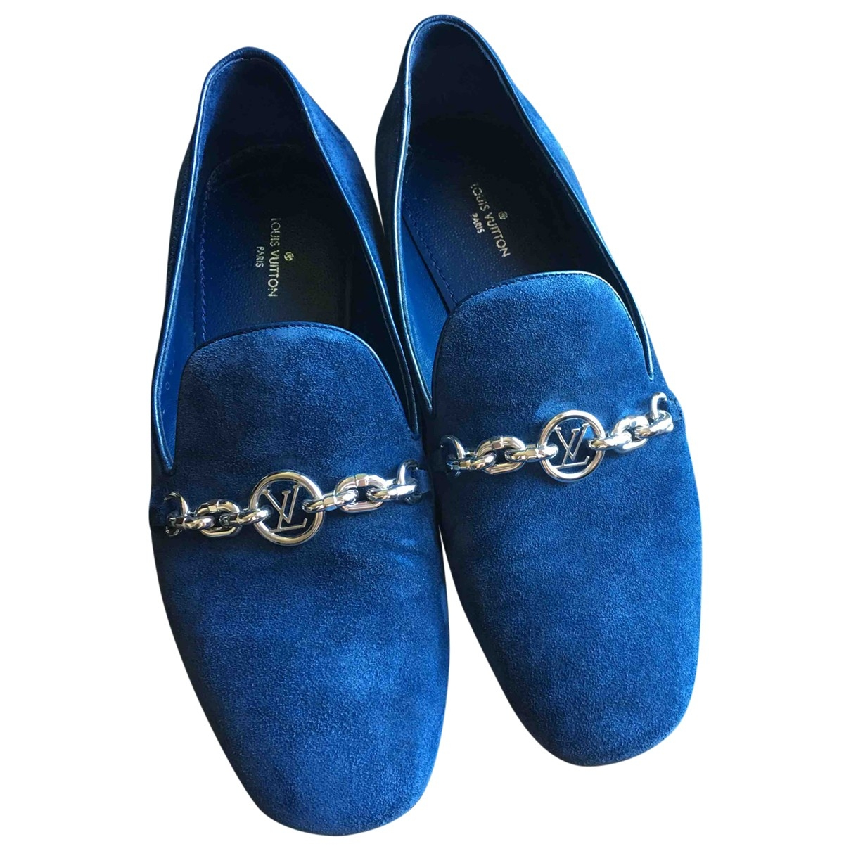Louis Vuitton \N Mokassins in  Blau Veloursleder