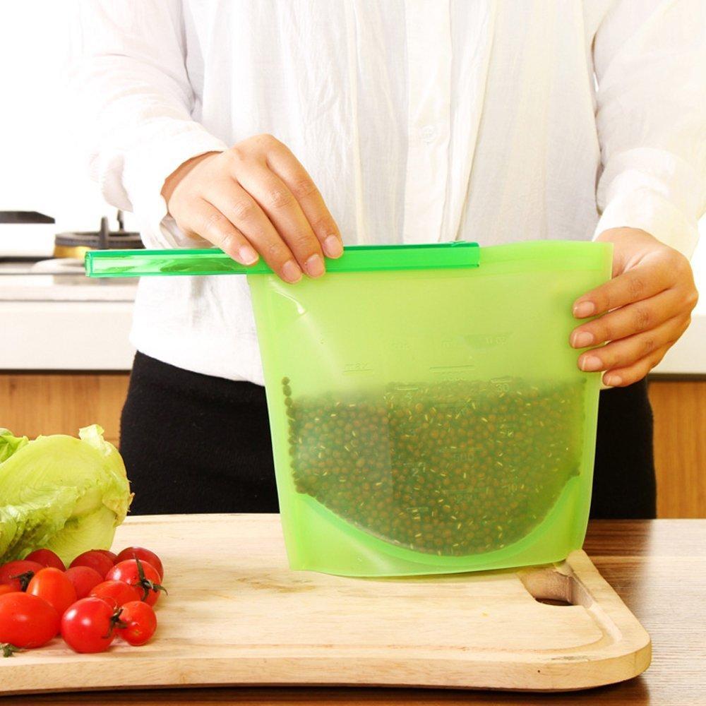 Silicone Fresh-Keeping Bag Vacuum Sealed Bag Food Frozen Storage Bag Refrigerator Food Fruit 1000ML