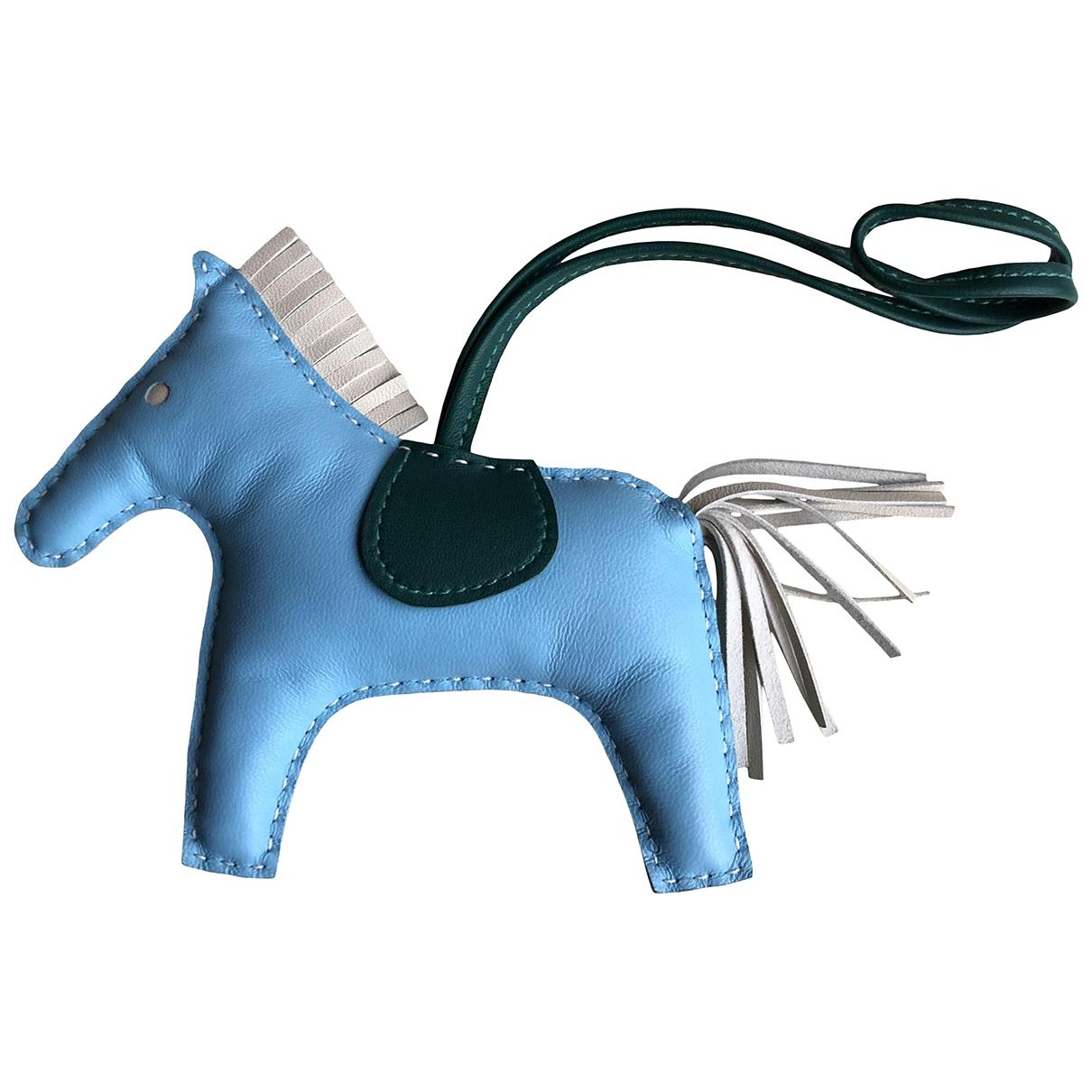 Hermes - Bijoux de sac Rodeo pour femme en cuir - bleu