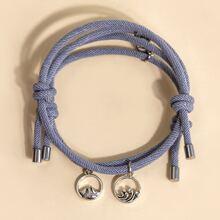 2pcs Round Decor Woven Bracelet