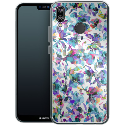 Huawei P20 Lite Silikon Handyhuelle - Aquatic Flowers Blue von Ninola Design