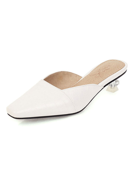 Milanoo Womens Low Heel Yellow Mules Shoes Square Toe Kitten Heel Sandals