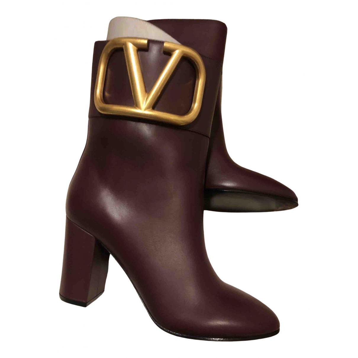 Valentino Garavani \N Stiefel in  Bordeauxrot Leder