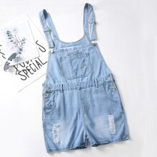 Plus Ripped Button Detail Denim Overall