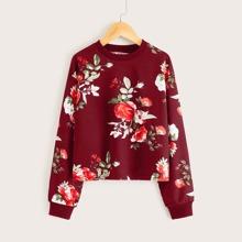 Pullover floral de hombros caidos
