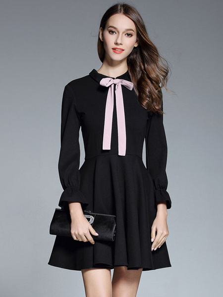 Milanoo Black Pleated Dress Long Sleeve Turndown Collar Bow Chiffon Skater Dress For Women