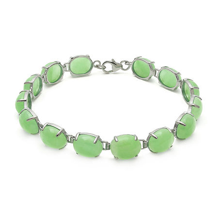 Green Jade Sterling Silver Bracelet, One Size , No Color Family