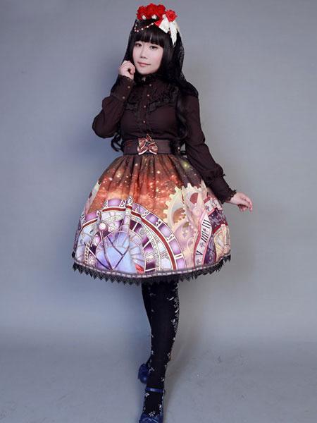 Milanoo Falda Lolita sintetico Vintage impresion multicolor para las mujeres