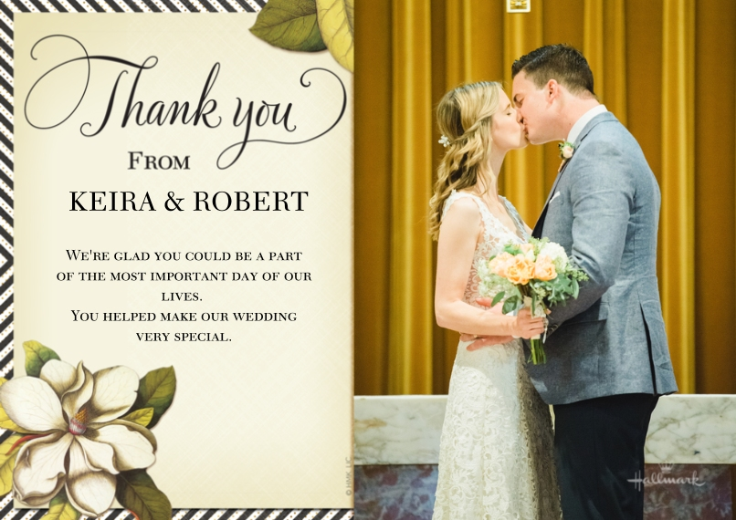 Wedding Thank You 5x7 Cards, Premium Cardstock 120lb with Scalloped Corners, Card & Stationery -Botanical and Stripe Thank You