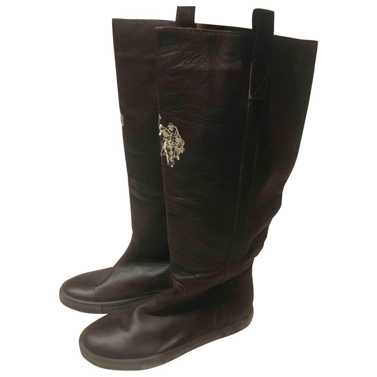 Polo Ralph Lauren - Bottes   pour femme en cuir - marron