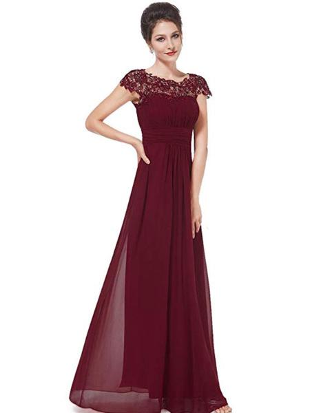 Milanoo Vestidos de honor Una linea de joyas de manga corta cuello de longitud de la cremallera de gasa vestido de fiesta