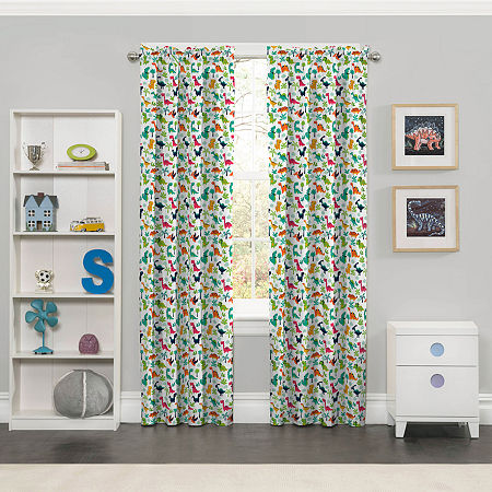 Eclipse Dippy Dinos Blackout Rod-Pocket Single Curtain Panel, One Size , Multiple Colors