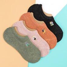 4 Paare Socken mit Karikatur Stickereien