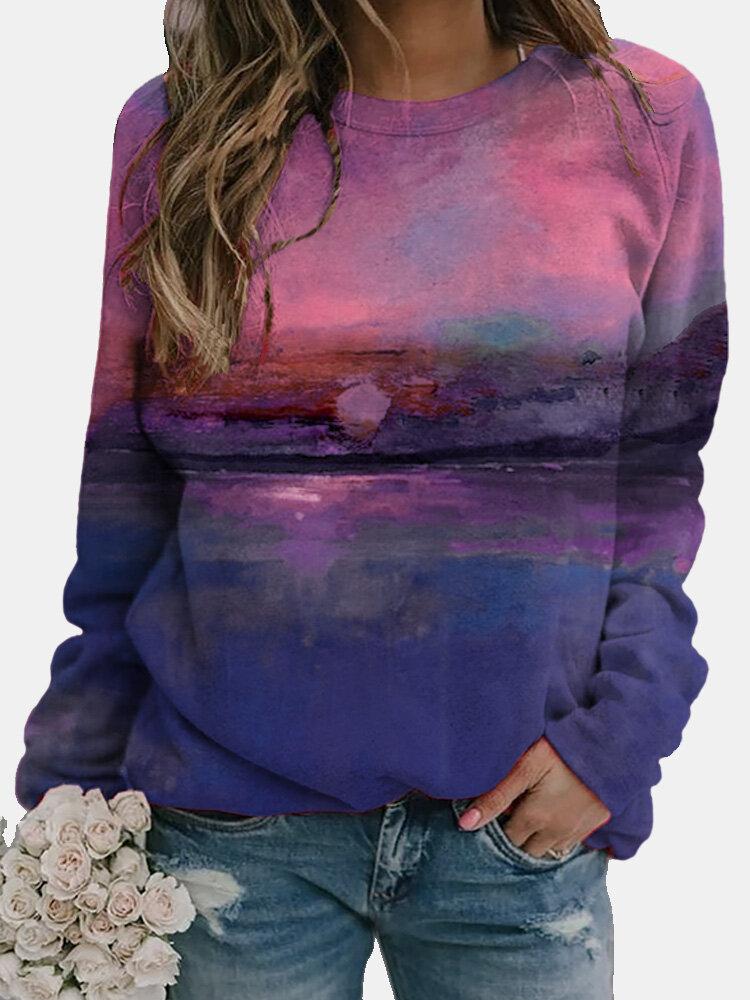 Landscape Printed Long Sleeve O-neck T-shirt For Women