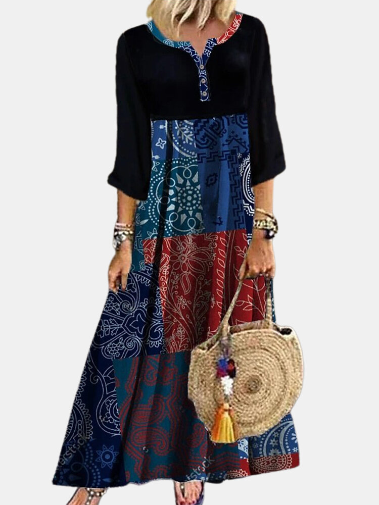 Ethnic Print Patchwork Long Sleeve Vintage Dress For Women