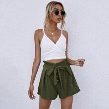Crop Cami Top With Paper Bag Waist Belted Shorts
