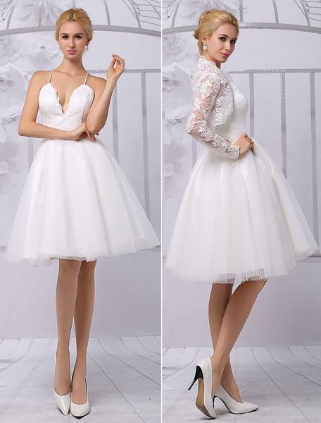 Milanoo Vestido de novia con cuello en V de encaje hasta la rodilla