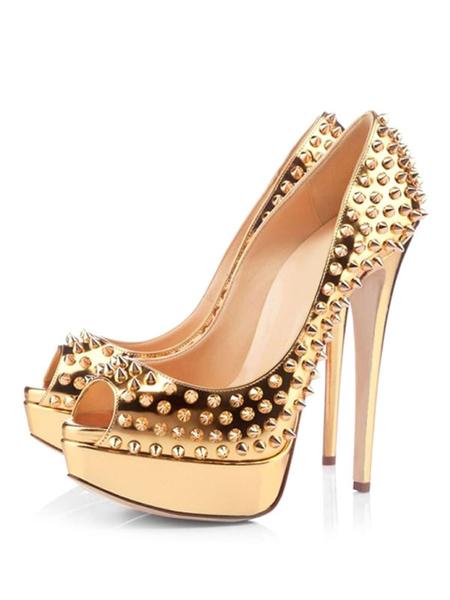 Milanoo Sexy High Heels Gold Platform Peep Toe Rivets Stiletto Heel Pumps Spike Shoes For Women