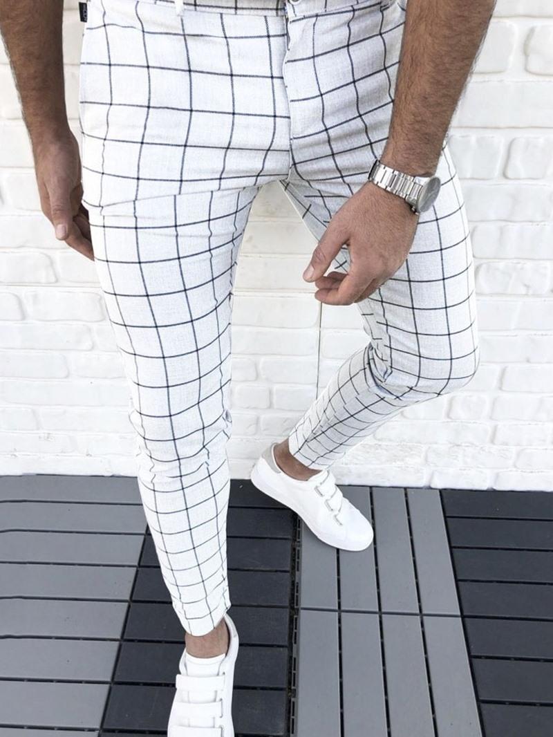 Ericdress Plaid Pencil Pants Zipper Four Seasons Casual Pants