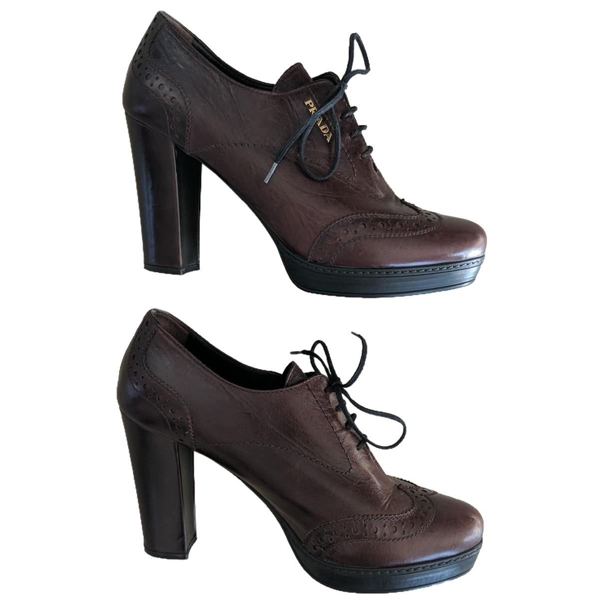 Prada - Boots   pour femme en cuir - bordeaux
