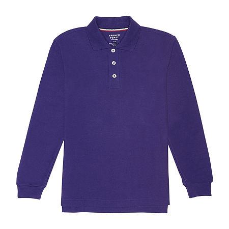 French Toast Little & Big Boys Long Sleeve Polo Shirt, X-small , Purple