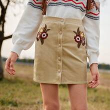 Girls Button Fly Embroidery Floral Cord Skirt