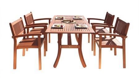 V187SET3 Malibu Eco-Friendly 5-Piece Wood Outdoor Dining