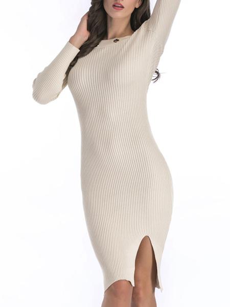 Milanoo Knitted Dress Bateau Neck Long Sleeves White Split Casual Arcylic Bodycon Sheath Dress