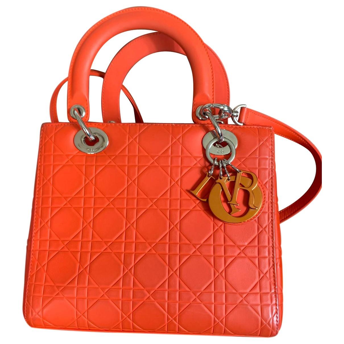 Dior Lady Dior Orange Leather handbag for Women \N