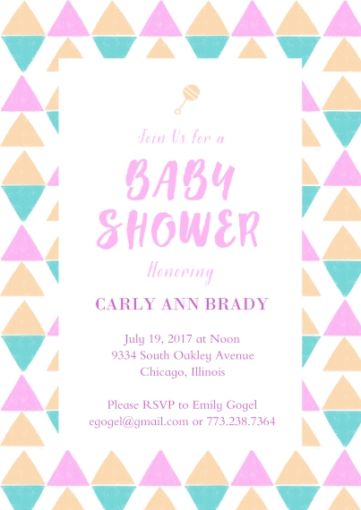 Baby Shower Invitations 5x7 Cards, Premium Cardstock 120lb with Elegant Corners, Card & Stationery -Pastel Triangles