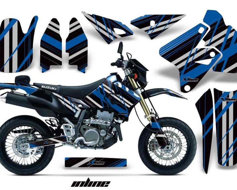 AMR Racing Dirt Bike Graphics Kit Decal Sticker Wrap For Suzuki DRZ400SM 2000-2018áINLINE BLUE BLACK