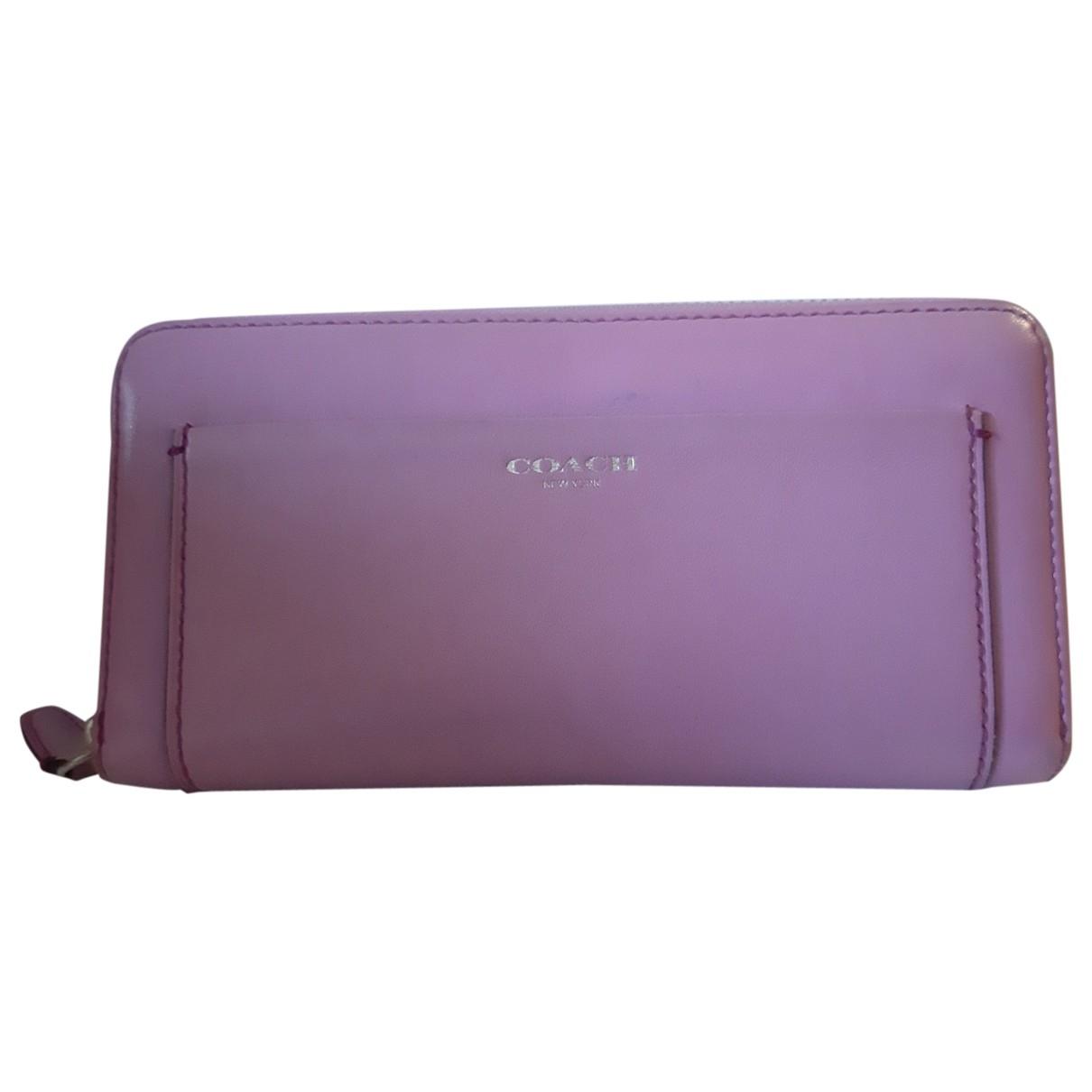 Coach - Portefeuille   pour femme en cuir - violet