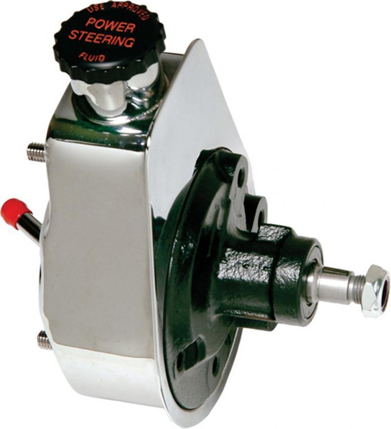 Borgeson 800311 P/S Pump; Saginaw Self Contained; Chrome; GM Pressure
