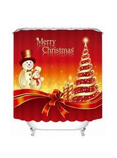 Cartoon Snowman Father and Son Printing Christmas Theme Bathroom 3D Shower Curtain