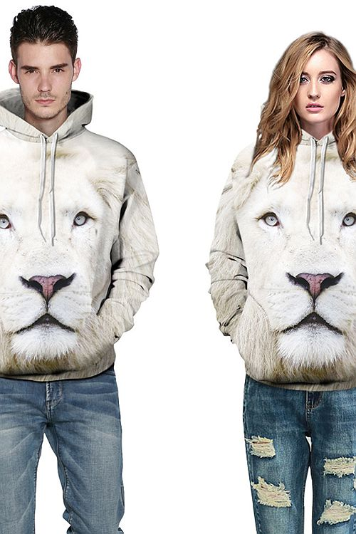 Concise Long Sleeve Lion Face Pattern White Animals 3D Painted Hoodie