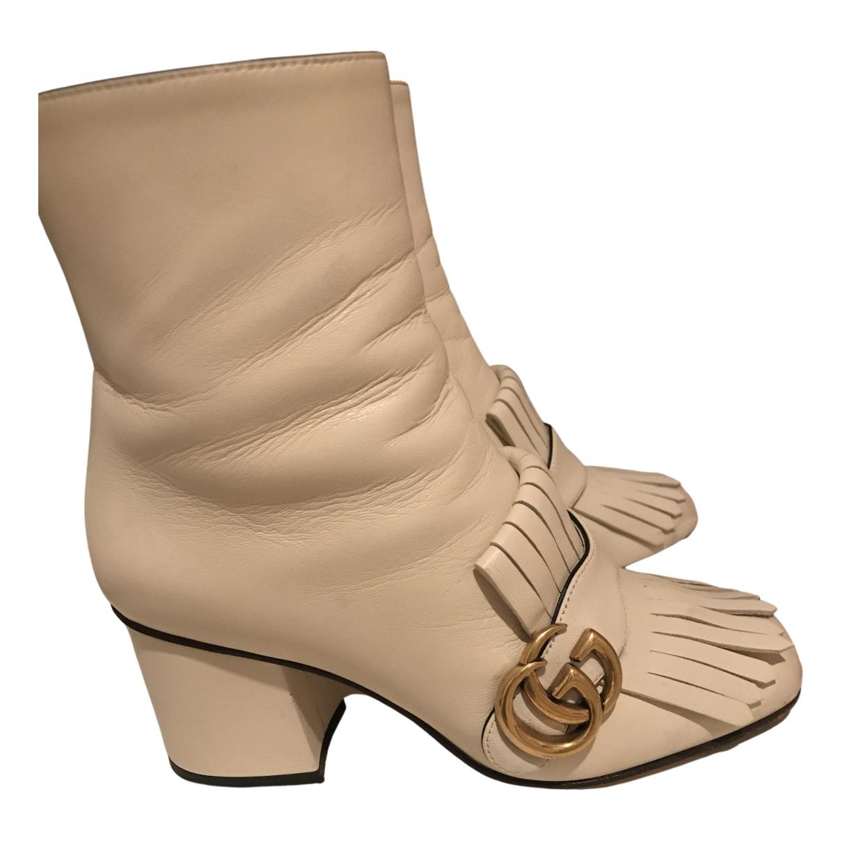 Gucci - Bottes   pour femme en cuir - blanc