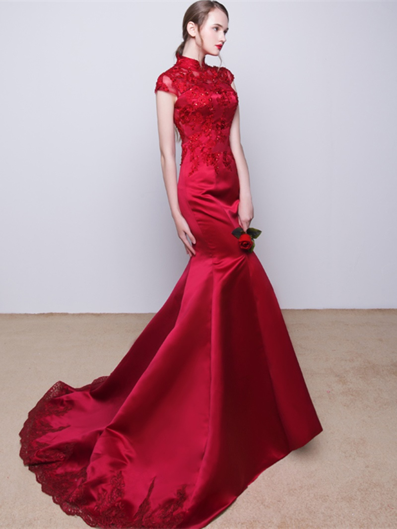 Ericdress High Neck Cap Sleeve Long Mermaid Evening Dress With Applique And Beadings