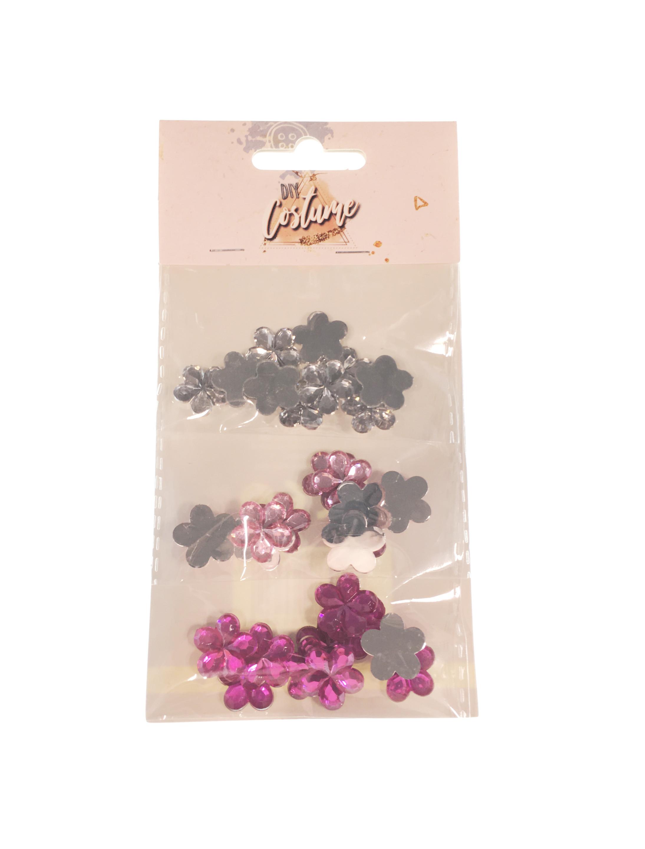 Kostuemzubehor Strasssteine Blume silber/pink/lila 30 Stk.