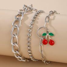 3pcs Cherry Decor Chain Bracelet